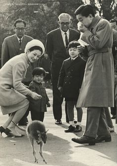 His Majesty the Emperor and Her Majesty the Empress who came over to the zoo with princes. 1968. Syowa.
