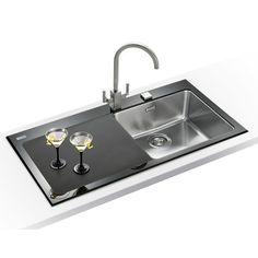 Franke Kubus KBV 611 Black Glass 1.0 Bowl Inset Kitchen Sink Image ...