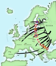 Axis battle map showing army movements for Operation Barbarossa. The countries featured on that map are Croatia, Hungary, Romania, Italy, Finland, and Nazi Germany.