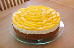 Three Cheese No-Bake Cheesecake with rum-infused peaches ~ by Olga's Flavor Factory