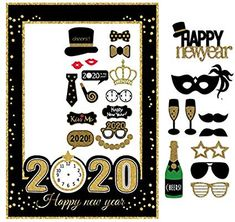 New Years Paper Photo Booth Props Picture Frame Set 2020 Selfie Props Party UV