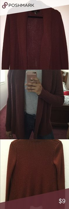 Dark Red Sweater Size small, worn twice, washed twice. Forever 21 brand. It is a thick sweater. Forever 21 Sweaters Cardigans