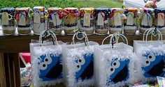 Cookie Monster Party - Party Favors - Cookie Jars for Adults - Goody Bags (Handmade) for Children.