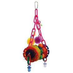 This Clownin' Around Parrot Toy has plenty for your Parrot to have fun with.   Three coloured slices of loofa provide your bird with hundreds of fibres to pick at, pull apart and preen.