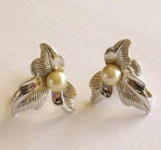 Vintage Sterling Earrings with Pearl by MaisonChantalMichael, $25.00
