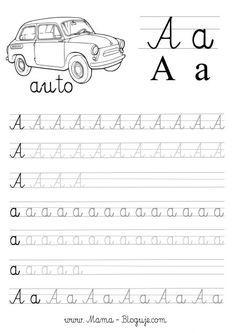 Nauka pisania literek dla dzieci - Darmowe szablony do druku - literki a-f Tracing Letters, Coloring Pages, Kindergarten, Preschool, Classroom, Lettering, Teaching, Activities, Kids
