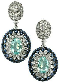 Amsterdam Sauer - 18k White Gold, Paraiba Tourmaline, Sapphire and Diamond 'Marés' Earrings.