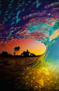 Colorful Waves at Sunset