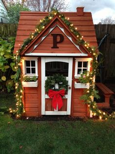 Playhouse decorated for the holidays! Have to give a shout out to Lindsey on this one - beyond adorable!!