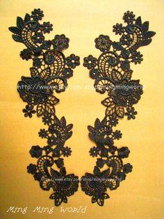 Black Lace Applique 1 Pair Black Flower Applique by mingmingworld