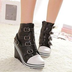 Womens Boots | Graceful PU Buckle Black Round Closed Toe Wedges Super High Heel Boots - Hugshoes.com