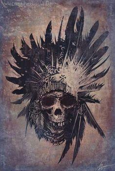 #Skull #aborígenes #indio #caveira #cocar