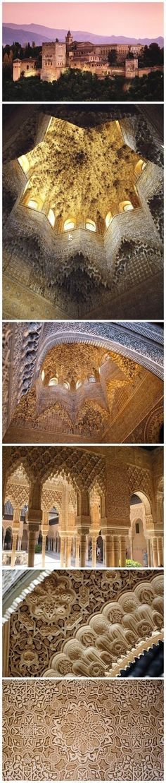 influence Alhambra Palace in southern Spain, gardening skills perfect combination of outstanding representatives of the Arab palace courtyard building, in 1984 was selected for the United Nations, UNESCO UNESCO World Heritage List, the entire building . Architecture Antique, Islamic Architecture, Beautiful Architecture, Beautiful Buildings, Beautiful Places, Cultural Architecture, Granada Andalucia, Granada Spain, Andalusia Spain
