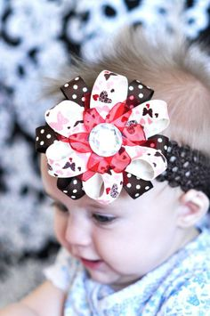 baby bow... brown and red ribbon flower...hair bow...infant headband ...a lovely hairbow for newborn, toddler and big girls via Etsy