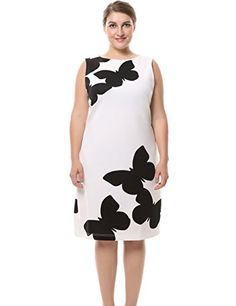 Chicwe Womens Sleeveless Plus Size Butterfly Printed Dress with Back Metal  Zip 18 WhiteBlack    6da98505f63f