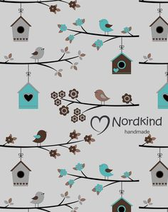 Baumwolljersey+Vögel+grau+von+Nordkind+Stoffe+&+Co+auf+DaWanda.com