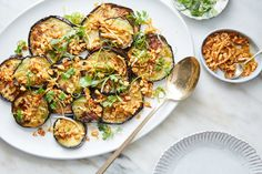 Pan-Roasted Eggplant With Peanut-Chile Sauce Recipe - NYT Cooking Ginger Peanut Sauce, Chicken Under A Brick, Roast Eggplant, Best Cookbooks, Vegetarian Entrees, Vegetable Dishes, Sauce Recipes, Side Dishes, Vegetarian