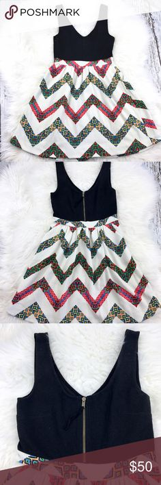 """💕SALE💕Anthropologie Color Block Design Dress Fabulous 💕Anthropologie Color Block Aztec Design Dress 35"""" from the top of the shoulder to the bottom 16"""" from armpit to armpit 28"""" Waist Zip up side, with Pockets Great Condition Adorable Dress Anthropologie Dresses"""