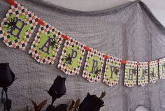 Items similar to Happy Halloween Handmade Halloween Party Banner - Paper Bunting - Photo Prop - Halloween Home Decor on Etsy. , via Etsy.