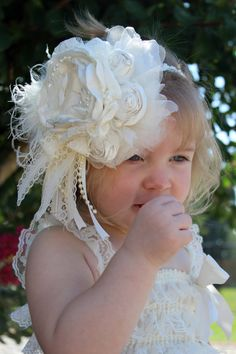 2 Piece Vintage Style Headband and Sash by LaBandeauxBowtique, $55.99 Cloth Flowers, Lace Flowers, Fabric Flowers, Vintage Headbands, Baby Headbands, Shabby Chic Flowers, Baby Girl Hair, Ribbon Hair Bows, Diy Headband