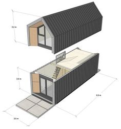 Loom Crafts Prefabricates Modular Double story house with 1 Room, 1 Living Room / Dining Room and 3 bedrooms with toilets will be attached with 2 rooms. Cabin Design, Small House Design, Tiny Mobile House, Double Story House, Modern Barn House, Door Gate Design, Innovative Architecture, Portable House, Prefabricated Houses