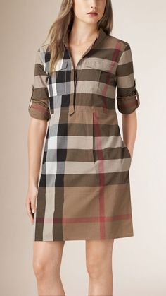 Explore our selection of women's dresses and jumpsuits at Burberry. Shop tailored dresses, lace-trim silk slips and jersey gowns with handworked embellishment. Cotton Shirt Dress, Cotton Dresses, Frock Fashion, Fashion Dresses, Kurta Designs, Blouse Designs, Burberry Dress, Mode Hijab, Jumpsuit Dress