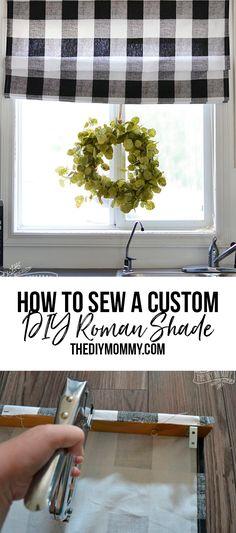 Roman Shades Kitchen, Diy Roman Shades, Farmhouse Roman Shades, Roman Curtains, Diy Curtains, Kitchen Curtains, Kitchen Blinds Diy, Drapery, Diy Window Shades