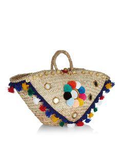 Multi Coloured Straw Sicilian Pom Basket