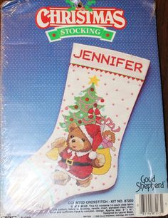 """Amazon.com: Vintage 1988 Good Shepherd Counted Cross Stitch Kit - Christmas Stocking - Santa Bear Designed by Laurel Blake and reads """"A Beary Merry Christmas to You"""" features a teddy bear dressed as Santa next to a Tree with toys."""