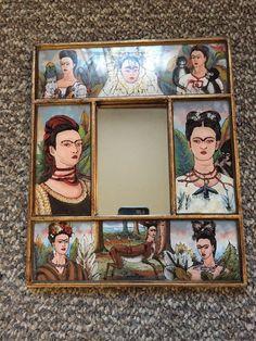 :D❤️Frida Kahlo Mirror Frame Hanging Portraits Espejo Khalo