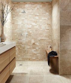 Antalya Crema Irregular Linear Mosaic Limestone Tile | Topps Tiles #bathroom