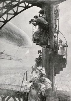1901. Viewing the Santos-Dumont balloon from the Eiffel Tower.