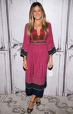 Sarah Jessica Parker in a boho pink midi dress