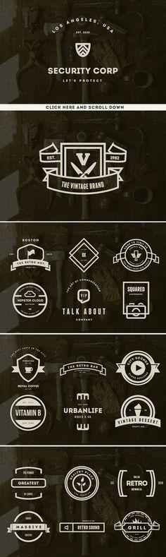 BIG BUNDLE 73 Vintage Logos Badges - Logos