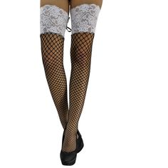 Black & White Lace Top Thigh High Fishnet Stockings With Tie Up ($20) ❤ liked on Polyvore featuring intimates, hosiery, tights, socks, thigh over knee, lace thigh high stockings, thigh high pantyhose, thigh high stockings, fishnet stockings and sexy stockings