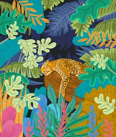 Sleeping Panther Art Print by 83 OrangesA(r) Art Shop - X-Small Art And Illustration, Illustrations, Painting Inspiration, Art Inspo, Kunst Inspo, Jungle Art, Guache, Art Plastique, Chinoiserie