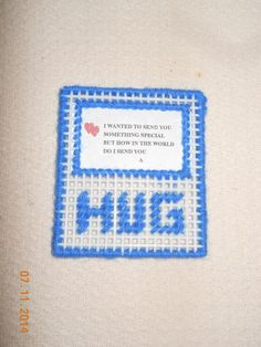 HUG Magnet in plastic canvas 3 colors by SpyderCrafts on Etsy, $2.50