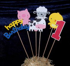 "Barnyard Buddies Centerpiece Accent Sticks PiG CHiCK CoW SHEEP TRACTOR HORSE DuCK BaRN ""Happy Birthday"" Number"