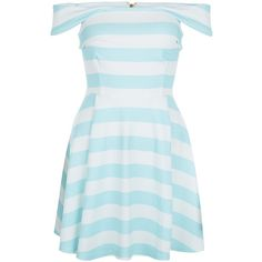 New Look Blue Stripe Bardot Neck Skater Dress (£19) ❤ liked on Polyvore featuring dresses, blue pattern, striped summer dress, summer dresses, print dress, skater dress and striped dress