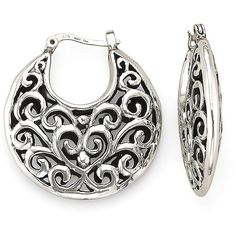 Sterling Silver Bali Hoop Earrings, found on polyvore.com