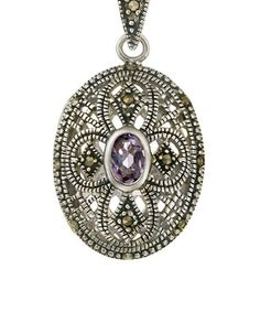 Take a look at this Amethyst & Sterling Silver Locket Pendant Necklace by Designs by FMC on #zulily today!