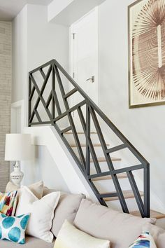 44 Awesome Modern Stairs Railing DesignYou can find Modern staircase and more on our Awesome Modern Stairs Railing Design Staircase Railing Design, Interior Stair Railing, Modern Stair Railing, Home Stairs Design, Balcony Railing Design, Iron Stair Railing, House Design, Railing Ideas, Staircase Design Modern