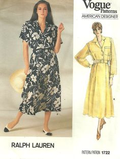 Vogue 1722 / Vintage Designer Sewing Pattern By Ralph Lauren / Dress / Size 12 Bust 34