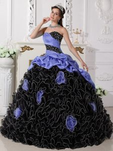 Lavender and Black Sweetheart Beading Quinceanera Dress with Rolling Flowers