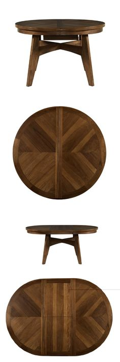Powell Tiburon American Walnut Round to Oval Dining Table, The Tiburon Dining Table is a traditionally styled piece finished in an American Walnut. A spacious top expands from a round table to an oval with the use of a leaf. Thick, sturdy legs anchor the piec..., #Home & Garden, #Dining Tables,