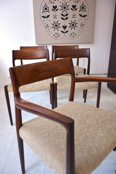niels o møller set of dining chairs in brazilian rosewood. ready for your upholstery. £4800