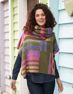 KATIA Official Website - Knitting yarns, fabrics, books and free patterns by Katia Poncho Lana, Knitting Yarn, Hand Knitting, Poncho With Sleeves, Knitting Patterns, Crochet Patterns, Knitted Poncho, Knit Fashion, Knit Or Crochet