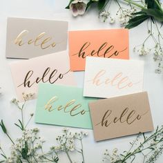 hello / gold foil lettering / stationary / pastel cards