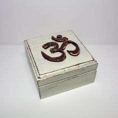 Distressed Wooden Box Ohm Symbol  Yoga box  by WoodenStories, $20.84