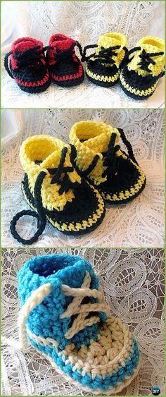 Crochet Newborn High Tops Converse Sneakers Free Pattern Video - Crochet Sneaker Slippers Free Patterns